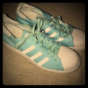 Adidas cloth light blue shell toes